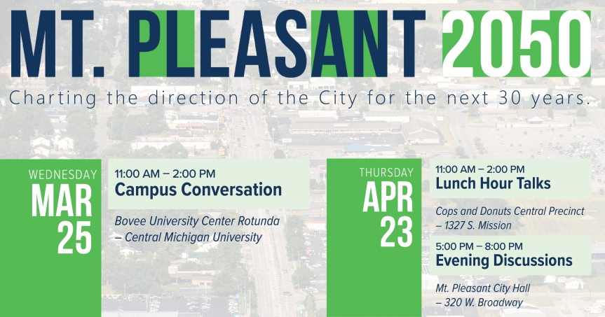 Public invited to learn more about the City of Mt. Pleasant's Proposed 2050 Master Plan